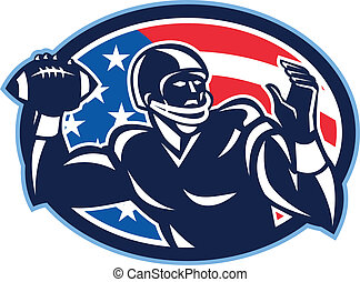 Quarterback QB Throwing Ball Retro - Illustration of an...