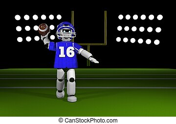 Quarterback robot throwing a football on the field