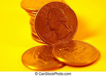 Quarters in Gold Tone