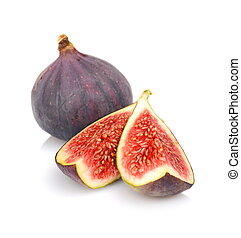 Quarters of figs isolated on white background