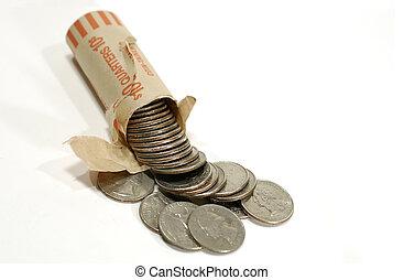 Quarters - Photo of a Torn Open Quarter Roll / Wrapper