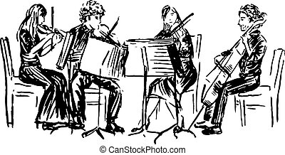 quartet - Hand-drawn sketch of musicians playing in quartet