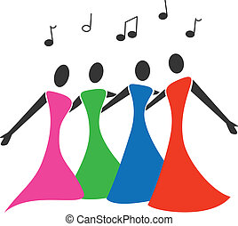 Female quartet sing in colorful dresses.
