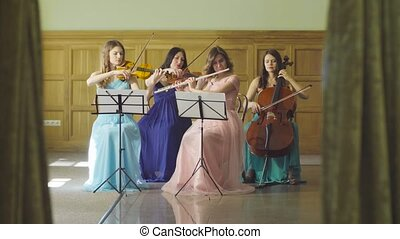 Quartet playing classic music - Woman's quartet playing...