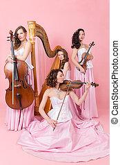 quartet with harp, cello and violins