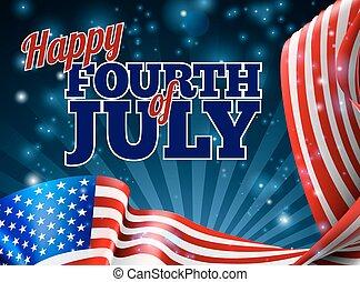 quarto, bandeira americana, desenho, fundo, julho