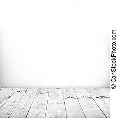 quarto branco, com, branca, chão madeira