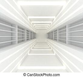 quarto branco, com, prateleira