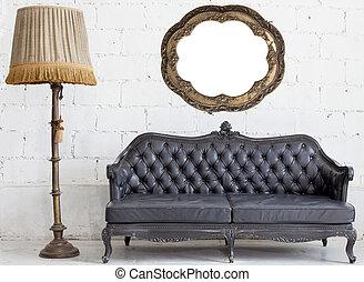 quarto branco, sofá, couro