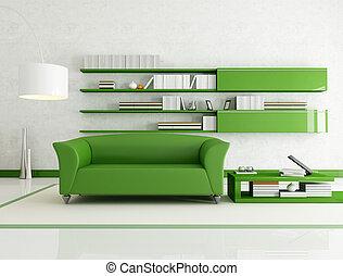 quarto branco, verde, vivendo
