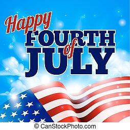 quarto, céu, bandeira, americano, fundo, julho