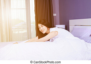 quarto, cama, mulher bonita
