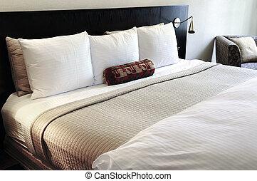 quarto, com, confortável, cama