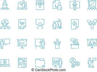 quarto conferência, negócio, gerente, símbolos, treinar, vetorial, aprendizagem, equipe, icon., apresentação