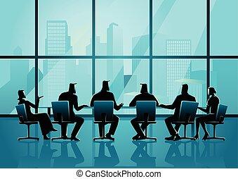 quarto conferência, pessoas negócio, executivo, reunião, ...