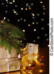 quarto escuro, árvore, presentes, luzes, verde, sob, brilhar, natal
