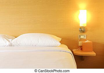 quarto hotel, cama, noturna