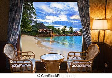 quarto hotel, e, praia, paisagem