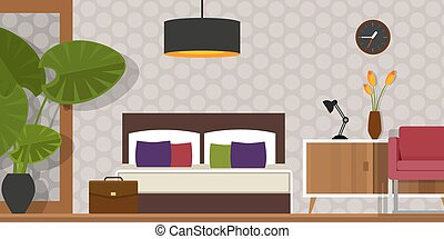 quarto, interior, vetorial, casa, mobília, homr
