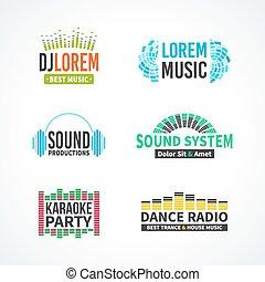 quarto, jogo, de, dj, música, equalizador, logotipo, vetorial