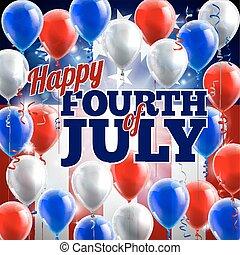 quarto, julho, fundo, bandeira americana, balões