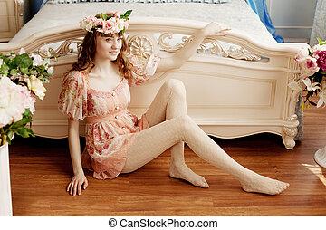 quarto, mulher bonita