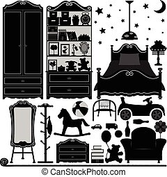 quarto, projeto interior, lar, sala
