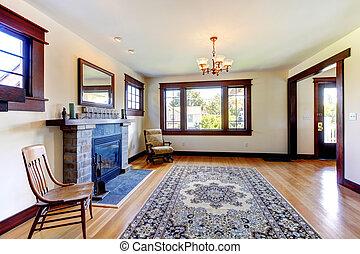quarto vazio, com, lareira, em, um, antigas, agradável, house.