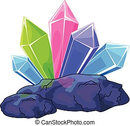 Quartz crystal - Illustration of a multi colored quartz...