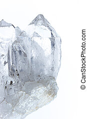 Quartz crystal (rock crystal) - SiO2 - isolated in front of...