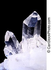 Quartz crystals on black