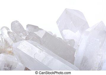 Quartz crystals on white - Quart crystals - semiprecious gem...