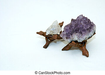 Quartz Crystals - Quartz Crystal and Amethyst on stands with...