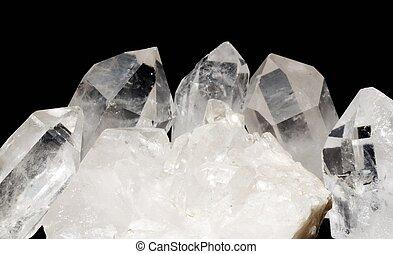Quartz crystals with druze