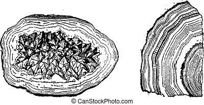 Quartz Geode and Agate vintage engraving - Old engraved...