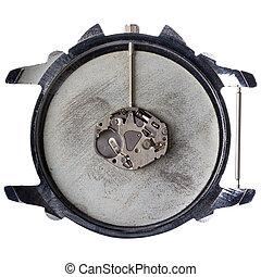 Quartz watch movement in old grungy clock