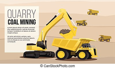 quary coal mininig concept haul heavy duty truck loading from excavator coal mining industry flat style illustration best for web and presentation