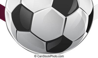 quatar flag with soccer ball
