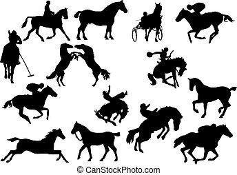 quatorze, silhouettes., cavalo, vetorial, ilustração