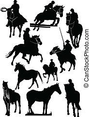 quatorze, vetorial, cavalo, silhouettes.