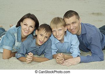quatre, été, famille