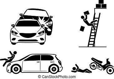 quatre, accident, assurance, icônes