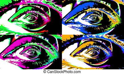 "quatre, ""animation, eyes"", humain, changer"