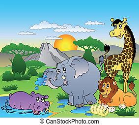 quatre animaux, paysage, africaine
