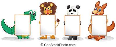 quatre, animaux sauvages, vide, signboards