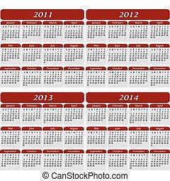 quatre, année, calendrier, dans, rouges