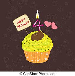 quatre, anniversaire, nombre, petit gâteau