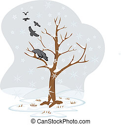 quatre, arbre, -, hiver, saisons