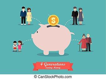 quatre, argent, économie, générations