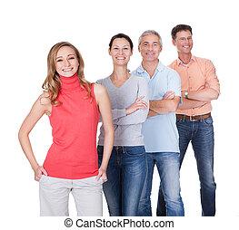quatre, associés, affaires occasionnelles, vêtements